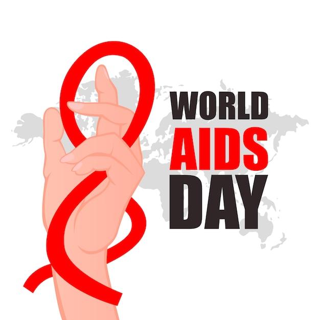 Światowy Dzień Aids. Trzymając Się Za Ręce Z Czerwoną Wstążką. Premium Wektorów