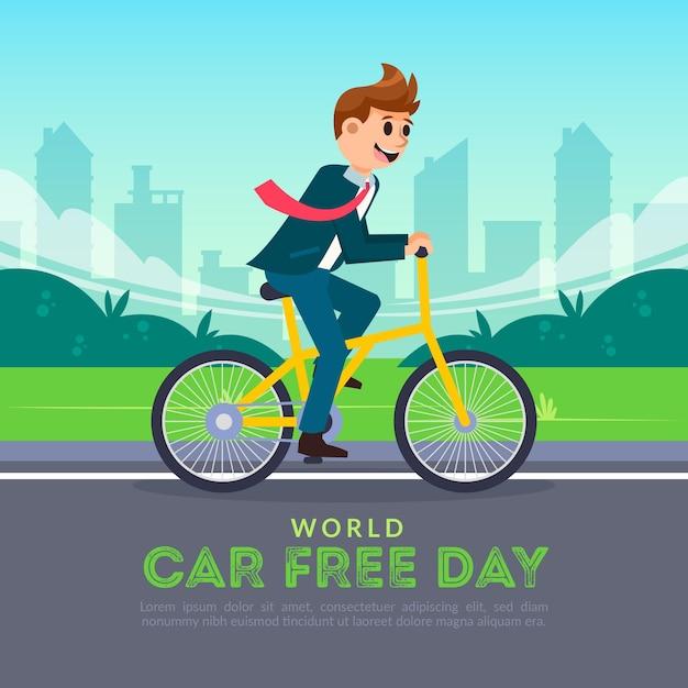 Światowy Dzień Bez Samochodu W Płaskiej Konstrukcji Darmowych Wektorów