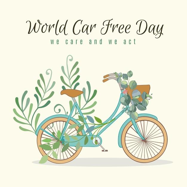 Światowy Dzień Bez Samochodu Z Rowerem I Wyjazdami Darmowych Wektorów