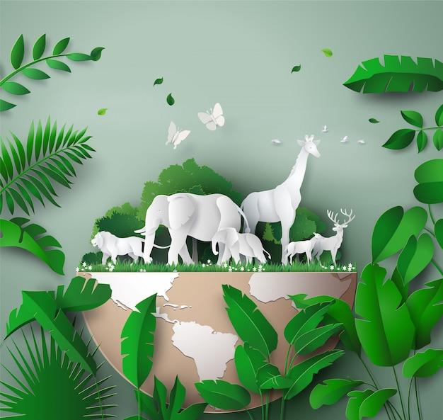 Światowy dzień dzikiej przyrody Premium Wektorów