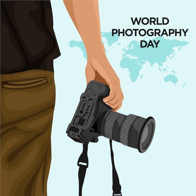 Światowy Dzień Fotografii Premium Wektorów