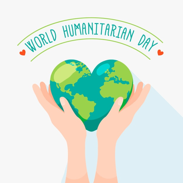 Światowy Dzień Humanitarny Z Ziemią W Kształcie Serca Darmowych Wektorów
