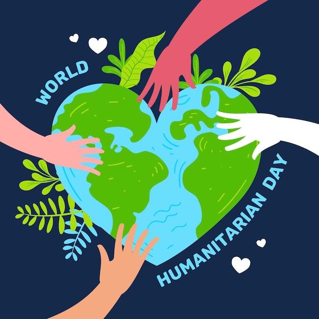 Światowy Dzień Humanitarny Z Ziemią Darmowych Wektorów