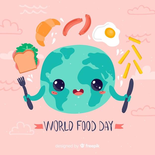 Światowy Dzień Jedzenia ładny Płaski Kształt Darmowych Wektorów
