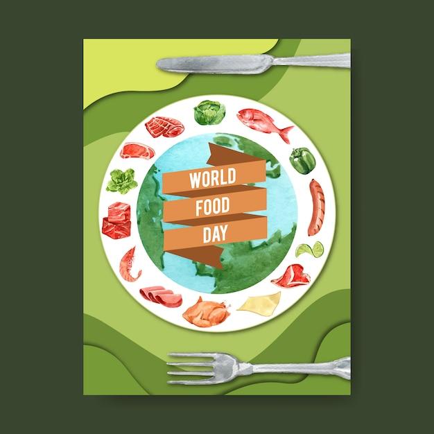 Światowy dzień jedzenia plakat z kulą ziemną, żebrem, kurczakiem, kiełbasą akwareli ilustracją. Darmowych Wektorów