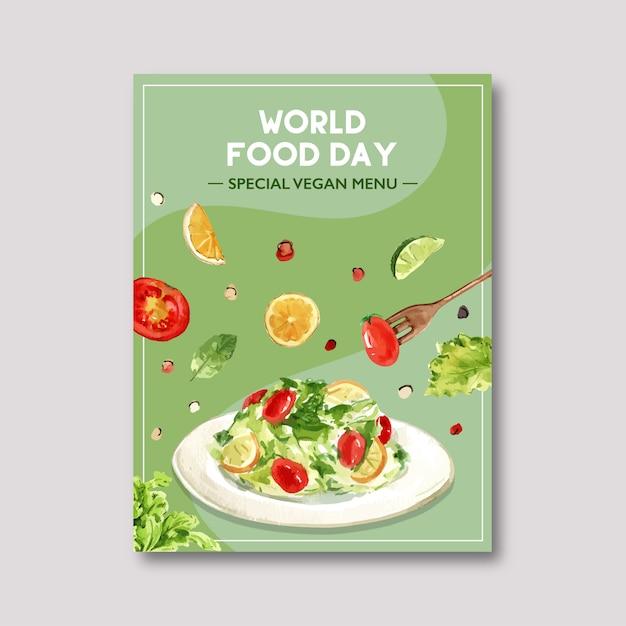 Światowy Dzień Jedzenia Plakat Z Sałatką, Pomidorem, Cytryną, Limonką, Miętą Akwarela Ilustracji. Darmowych Wektorów
