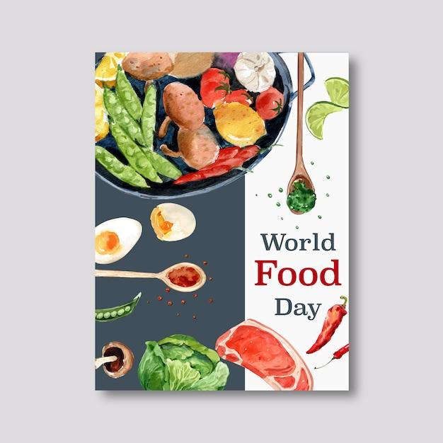 Światowy dzień jedzenia plakat ze stekiem, jajko na twardo, limonka, groszek akwarela ilustracja. Darmowych Wektorów