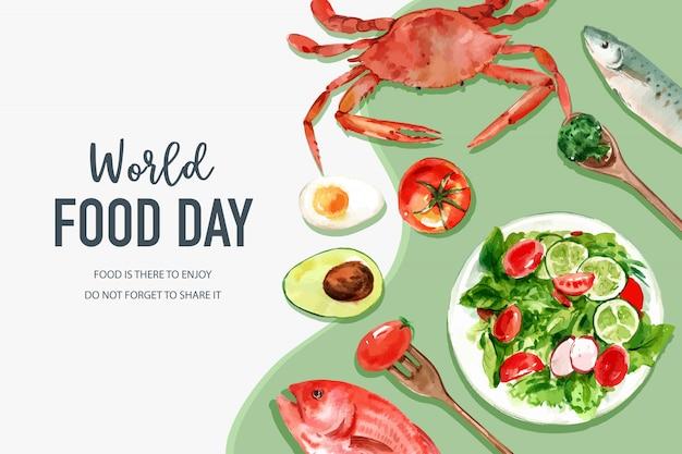 Światowy dzień jedzenia rama z kraba, pomidorów, ryb, sałatek, jaj, akwarela ilustracji awokado. Darmowych Wektorów