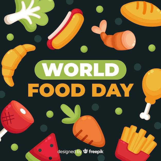 Światowy dzień jedzenia w płaskiej konstrukcji Darmowych Wektorów