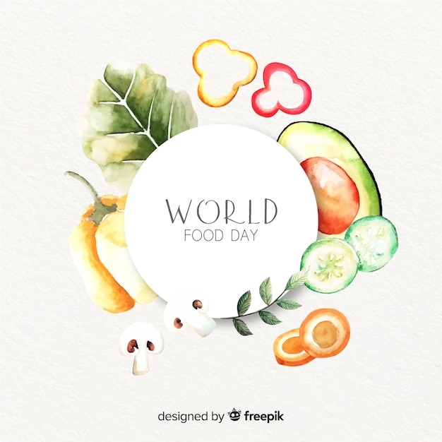 Światowy dzień jedzenia z pysznymi zdrowymi warzywami Darmowych Wektorów