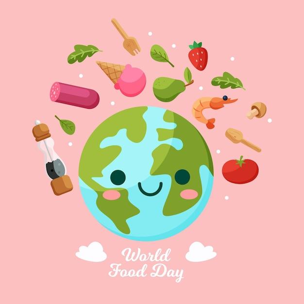 Światowy Dzień Jedzenia Z Uśmiechniętą Ziemią Darmowych Wektorów