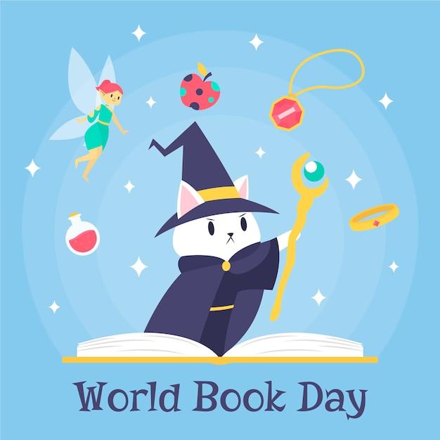 Światowy Dzień Książki Czarodzieja Kociak I Bajki Premium Wektorów
