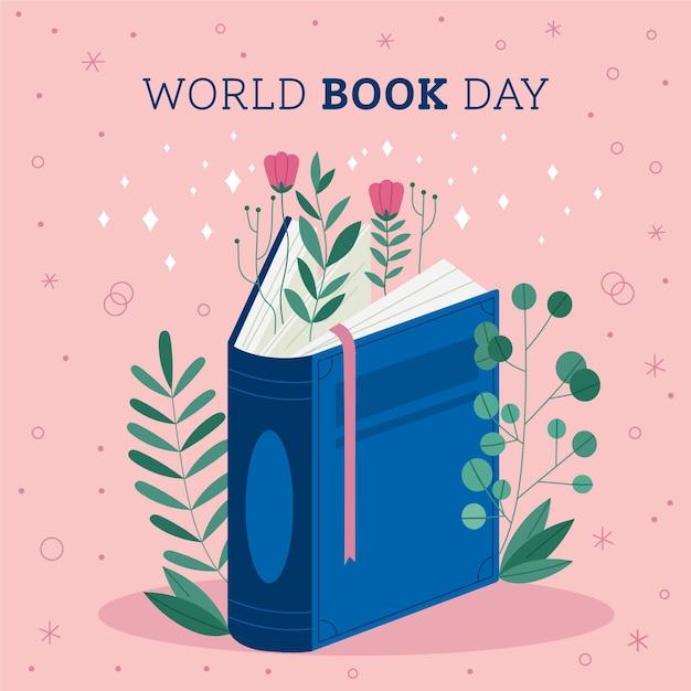 Światowy Dzień Książki Ilustracja Z Książką Darmowych Wektorów