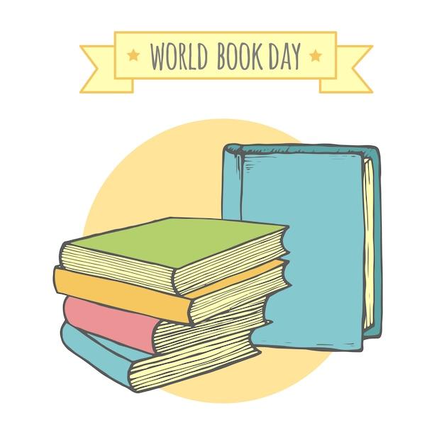 Światowy dzień książki, kreatywne i stylowe tło. Premium Wektorów