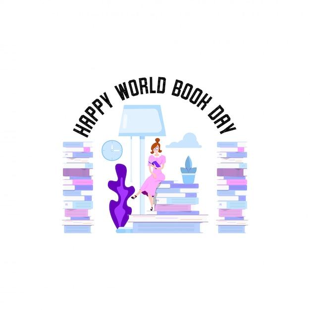 Światowy dzień książki, plakat świąteczny - płaska konstrukcja. Premium Wektorów