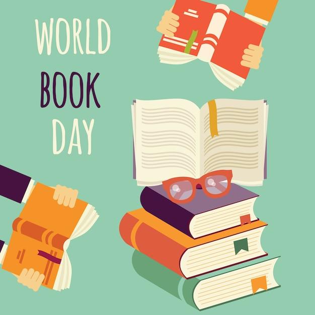 Światowy dzień książki, stos książek z rękami i okularami Premium Wektorów