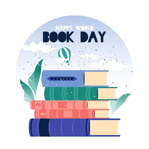 Światowy Dzień Książki W Płaskiej Konstrukcji Darmowych Wektorów
