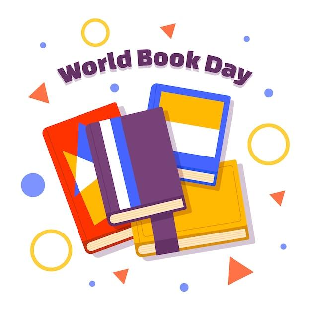 Światowy Dzień Książki Z Dużą Ilością Książek Darmowych Wektorów