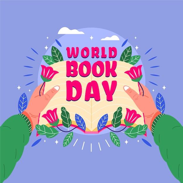 Światowy Dzień Książki Z Osobą Posiadającą Otwartą Książkę Darmowych Wektorów