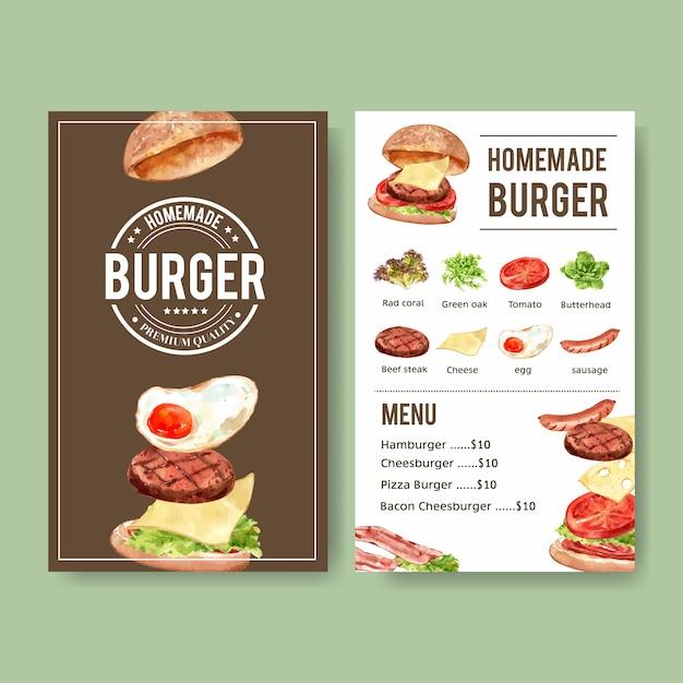 Światowy dzień menu żywności z hamburgera, stek wołowy, akwarela ilustracja kiełbasa. Darmowych Wektorów