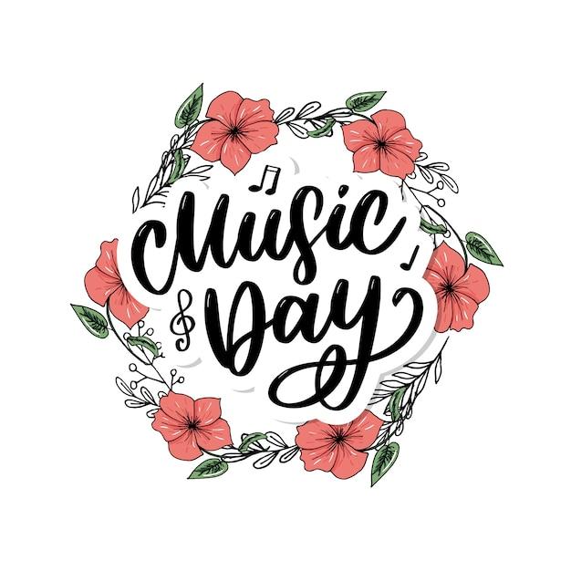 Światowy Dzień Muzyki Napis Kaligrafia Szczotka Logo Wakacje Premium Wektorów