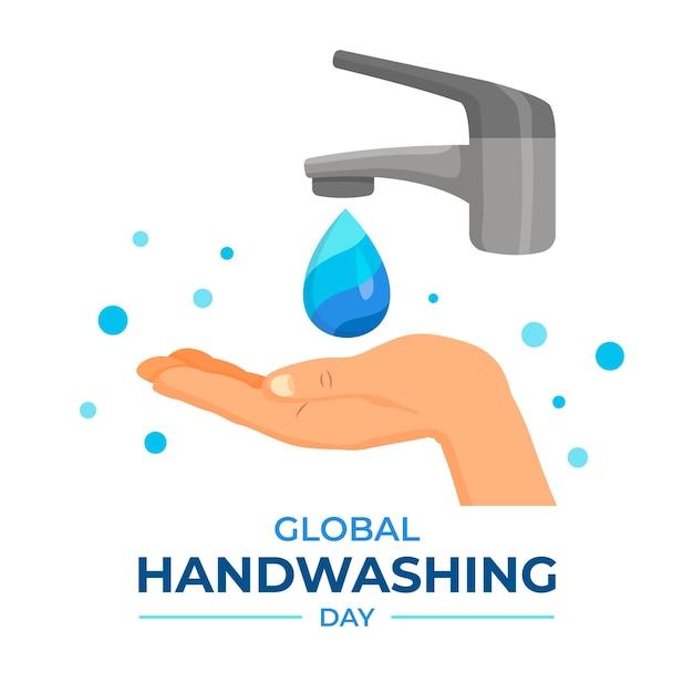 Światowy Dzień Mycia Rąk Ręką I Dotknięciem Premium Wektorów