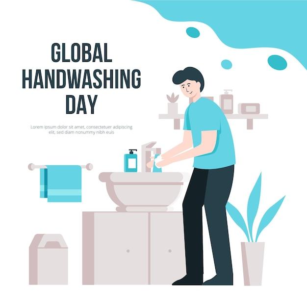 Światowy Dzień Mycia Rąk Z Człowiekiem Premium Wektorów