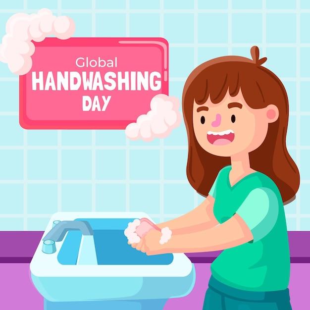 Światowy Dzień Mycia Rąk Z Dziewczyną Darmowych Wektorów