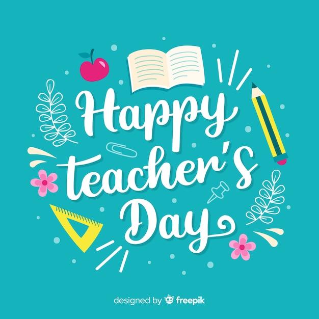 Światowy dzień nauczyciela napis tło Darmowych Wektorów