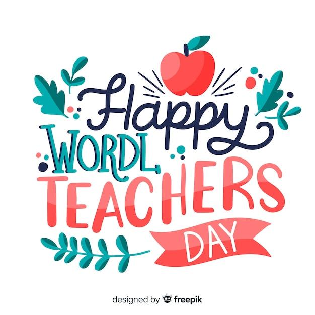 Światowy dzień nauczycieli napis z czerwonym jabłkiem Darmowych Wektorów