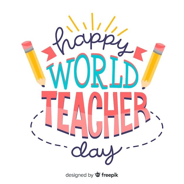 Światowy dzień nauczycieli napis z ołówkami Darmowych Wektorów