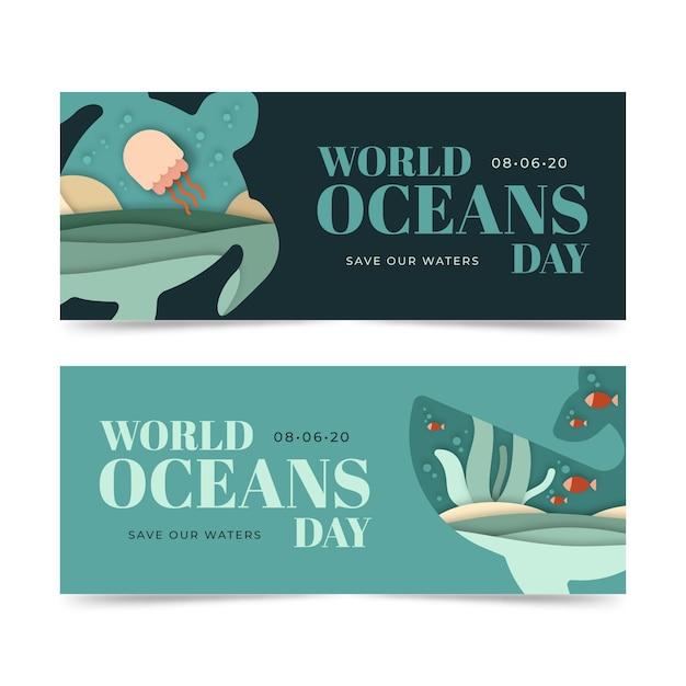 Światowy Dzień Oceanów Banery Koncepcja Szablon Darmowych Wektorów