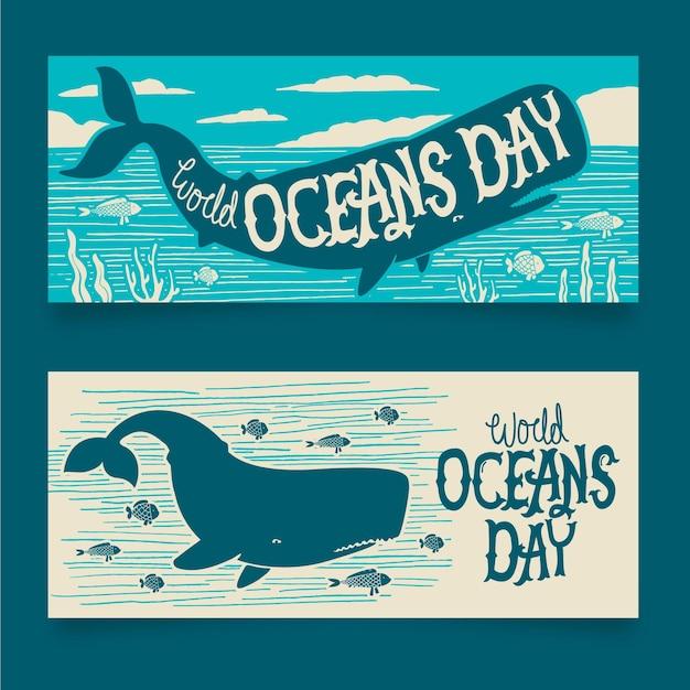 Światowy Dzień Oceanów Banery Rysowane Projekt Darmowych Wektorów