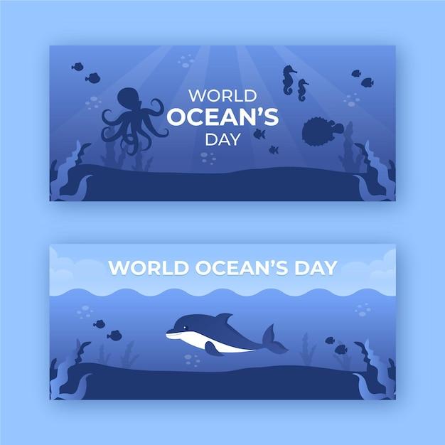 Światowy Dzień Oceanów Banery Szablon Projektu Darmowych Wektorów