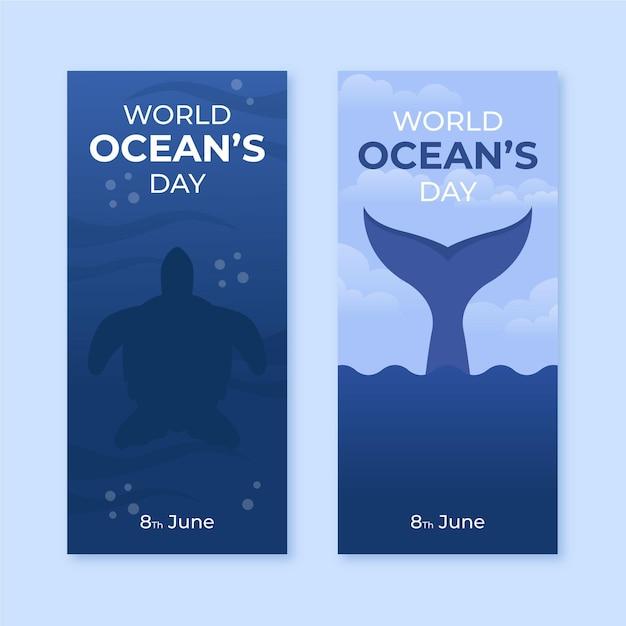 Światowy Dzień Oceanów Banery Szablon Darmowych Wektorów