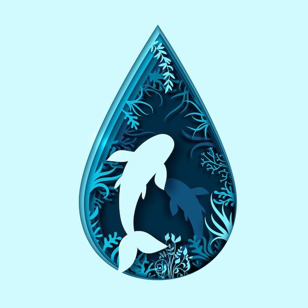 Światowy dzień oceanów. sztuka papierowa fal morskich i ryb Premium Wektorów