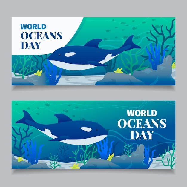 Światowy Dzień Oceanów Transparent W Płaska Konstrukcja Darmowych Wektorów