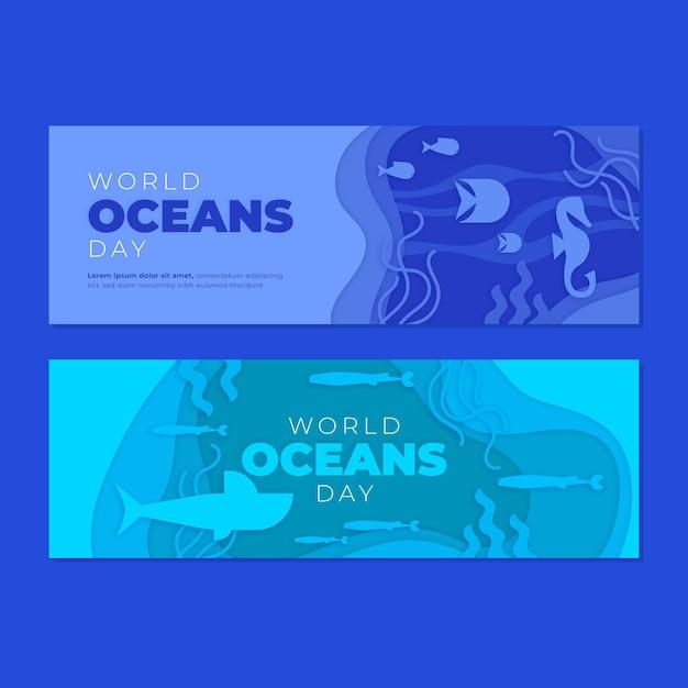 Światowy Dzień Oceanów Transparent W Stylu Papieru Darmowych Wektorów