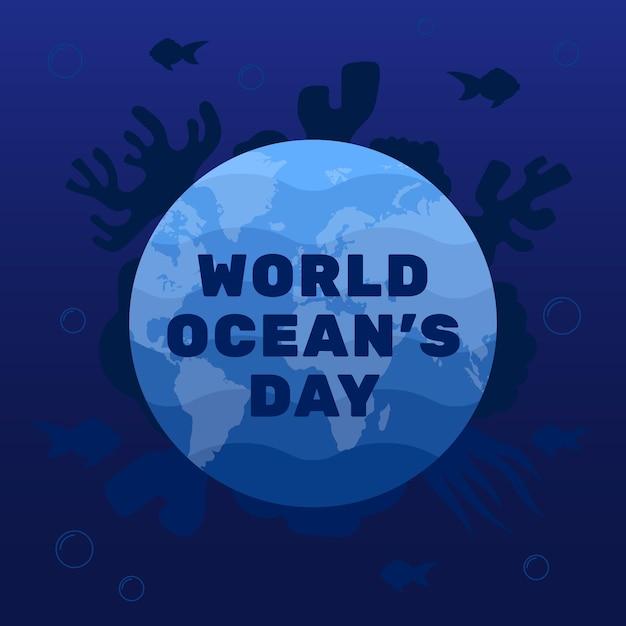 Światowy Dzień Oceanów W Płaskiej Konstrukcji Darmowych Wektorów