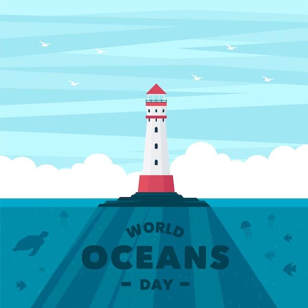 Światowy Dzień Oceanów Z Latarnią Morską Darmowych Wektorów