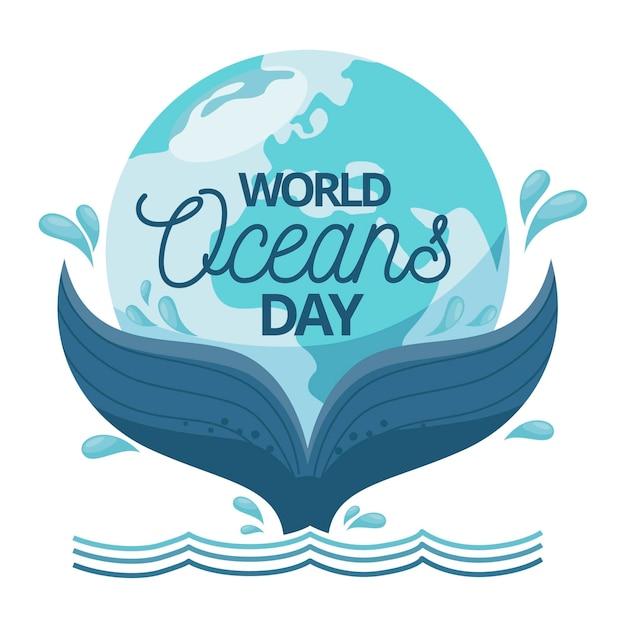 Światowy Dzień Oceanów Z Ogonem Wieloryba Darmowych Wektorów