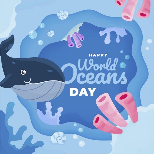 Światowy Dzień Oceanów Z Wale Darmowych Wektorów