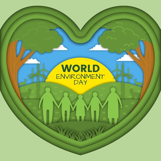 Światowy Dzień Ochrony środowiska W Koncepcji Stylu Papieru Darmowych Wektorów