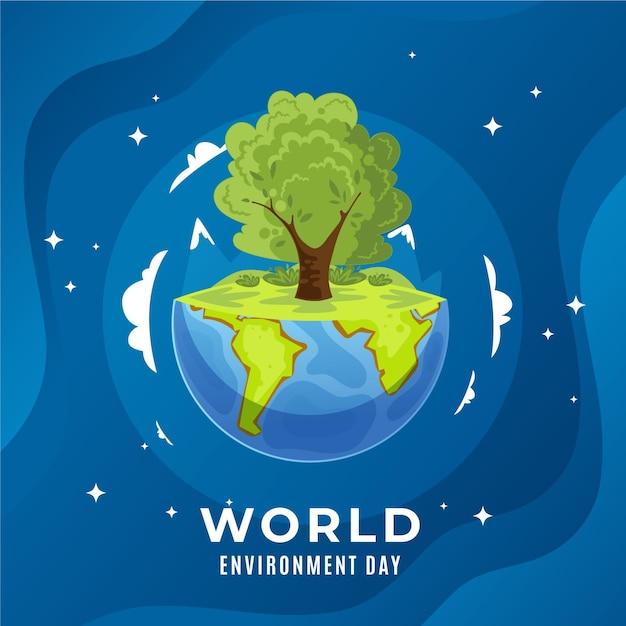 Światowy Dzień Ochrony środowiska W Płaskiej Konstrukcji Darmowych Wektorów
