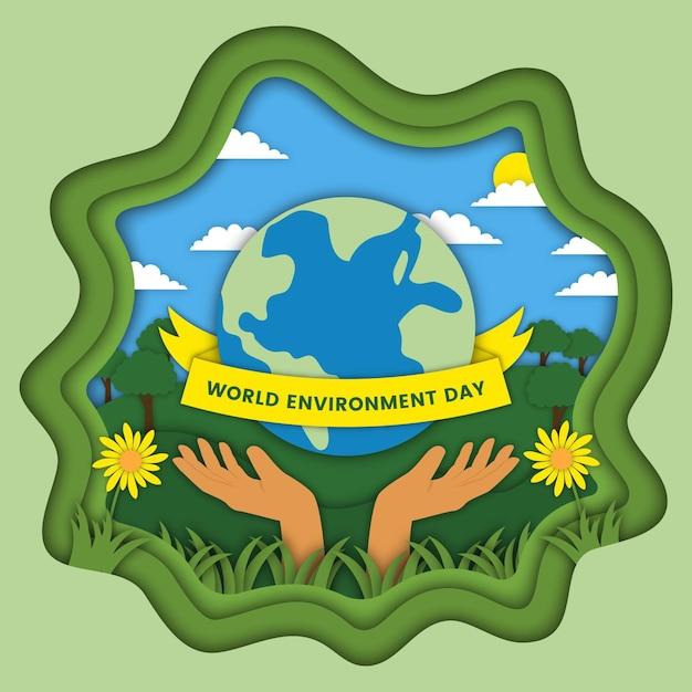 Światowy Dzień Ochrony środowiska W Stylu Papierowym Darmowych Wektorów