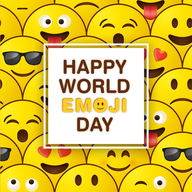 Światowy dzień powitanie karta emoji Premium Wektorów