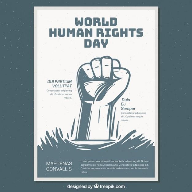 Światowy Dzień Praw Człowieka Plakat Szablon Darmowych Wektorów