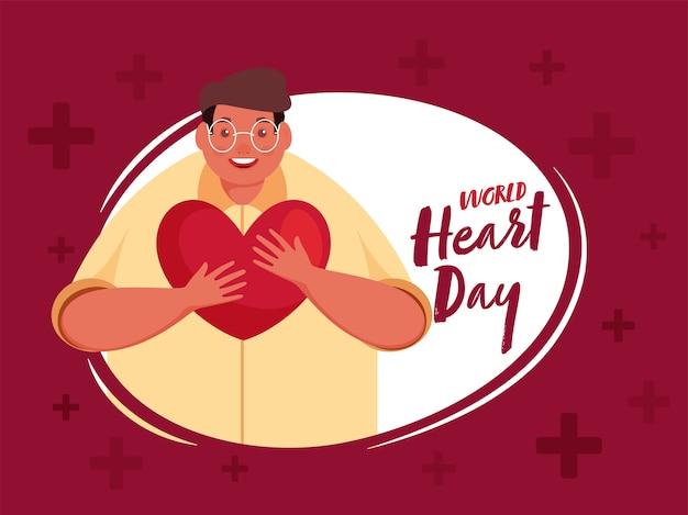 Światowy Dzień Serca Czcionki Z Szczęściem Mężczyzna Trzyma Serce Na Czerwonym Tle. Premium Wektorów