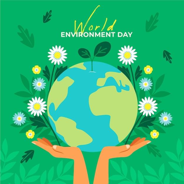 Światowy Dzień środowiska Ziemi I Kwiatów Darmowych Wektorów