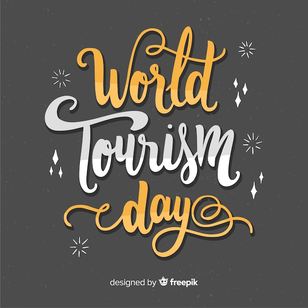 Światowy Dzień Turystyki Napis Z Płaska Konstrukcja Darmowych Wektorów